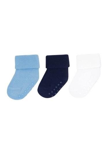 Katia & Bony 3 Lü Yenidoğan Basic Patik Çorap  Mavi